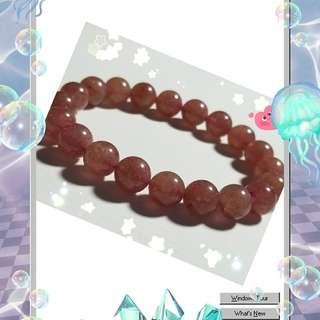 天然水晶,草莓晶,最強愛情姻緣石手鏈