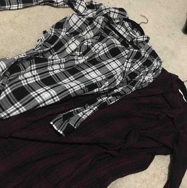 2 long plaid shirts