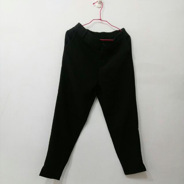 棉質黑色長褲