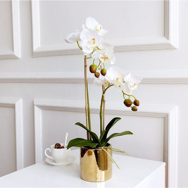 蝴蝶蘭質感仿真花含金色花器
