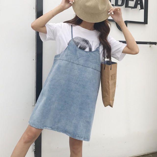 韓版細肩帶牛仔洋裝