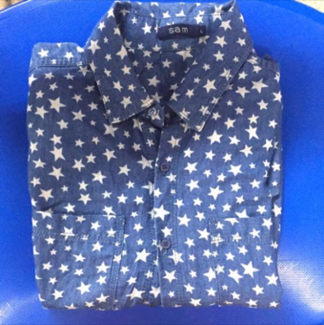 藍色長袖襯衫