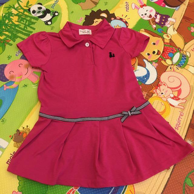 桃紅色小洋裝