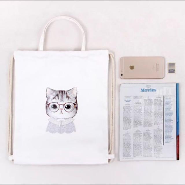 全新現貨眼鏡貓咪可愛手提雙肩包束口袋抽繩背包休閒帆布包