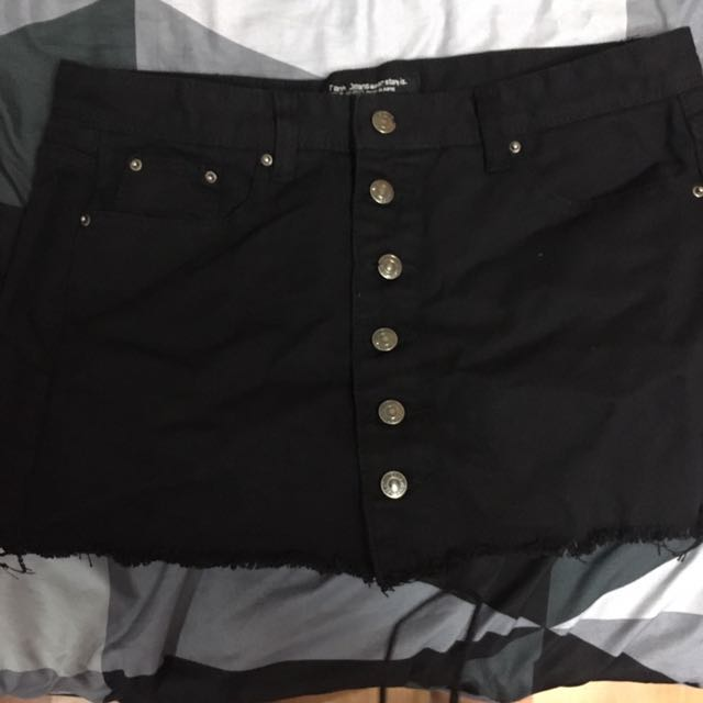 黑色排扣褲裙