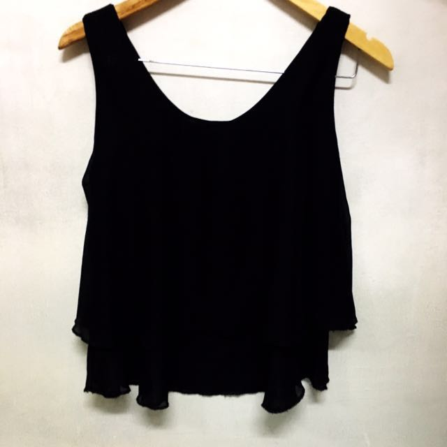 ❤️ Black Chiffon Layered Sleeveless BLOUSE