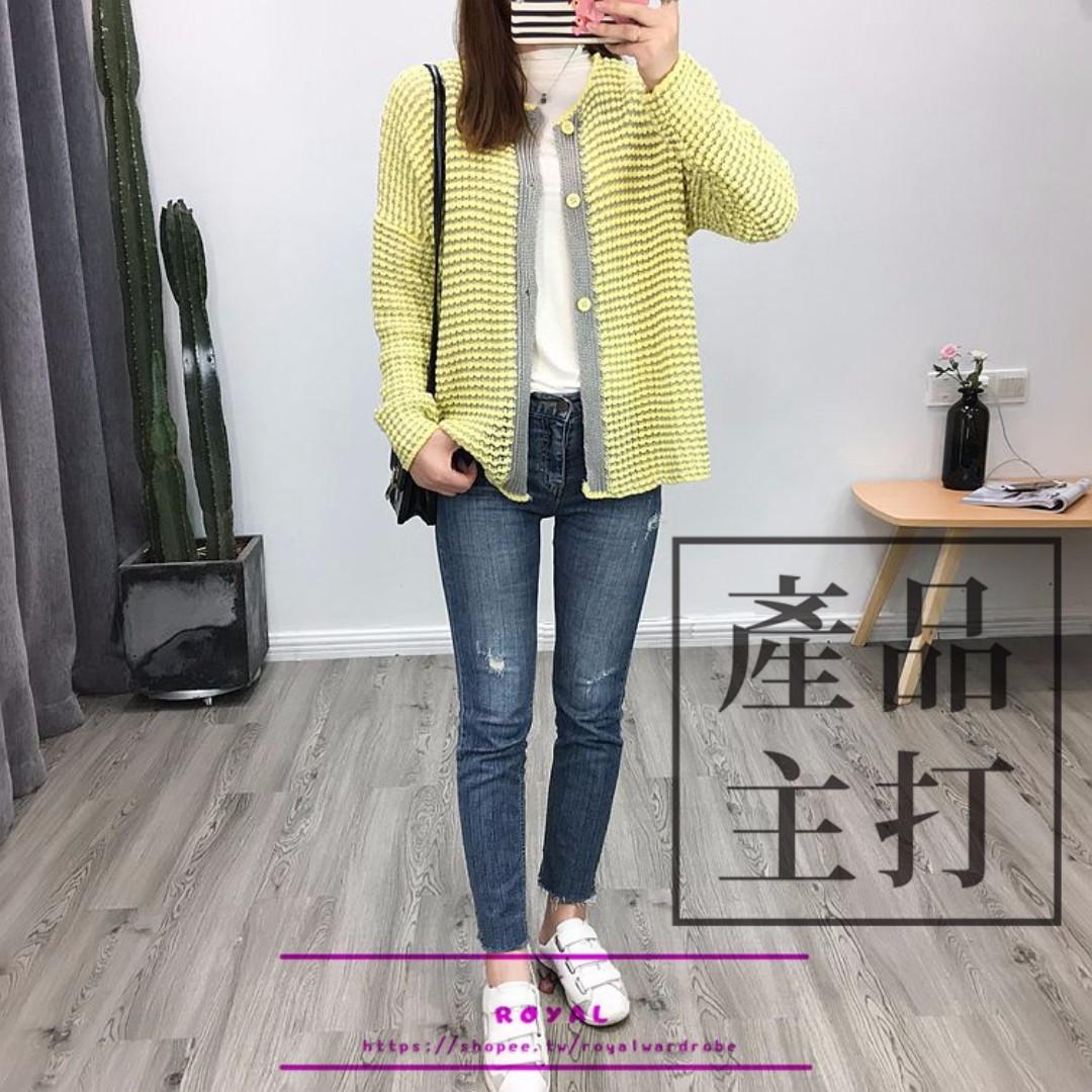 甜美拼色針織毛衣外套 N926424