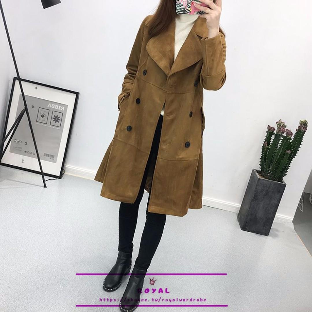 韓版氣質麂皮絨中長版大衣 N926887