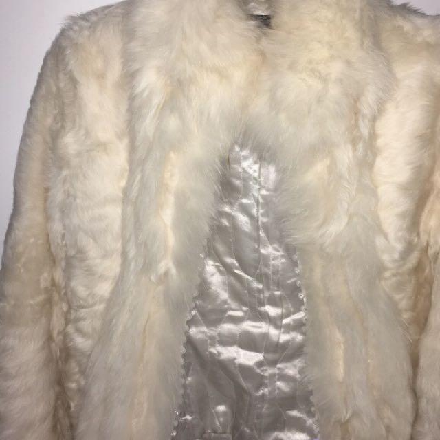 Authentic white fur jacket