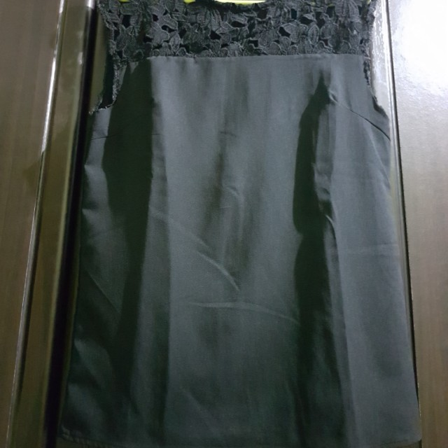 Black sleeveless with floral design