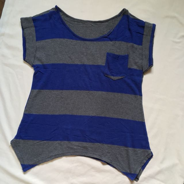 Blue and Gray Stripes Top