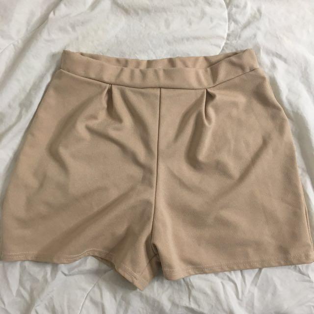Boohoo Cream Shorts