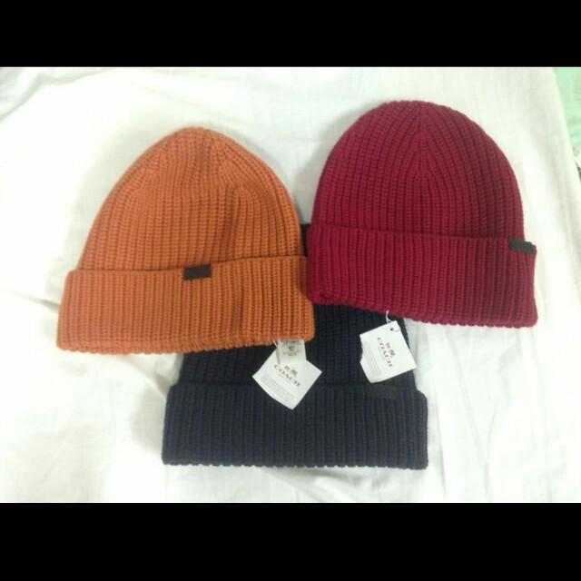 COACH 牛皮LOGO 羊毛帽(免運)