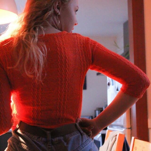 Deep orange long sleeved mesh crop top