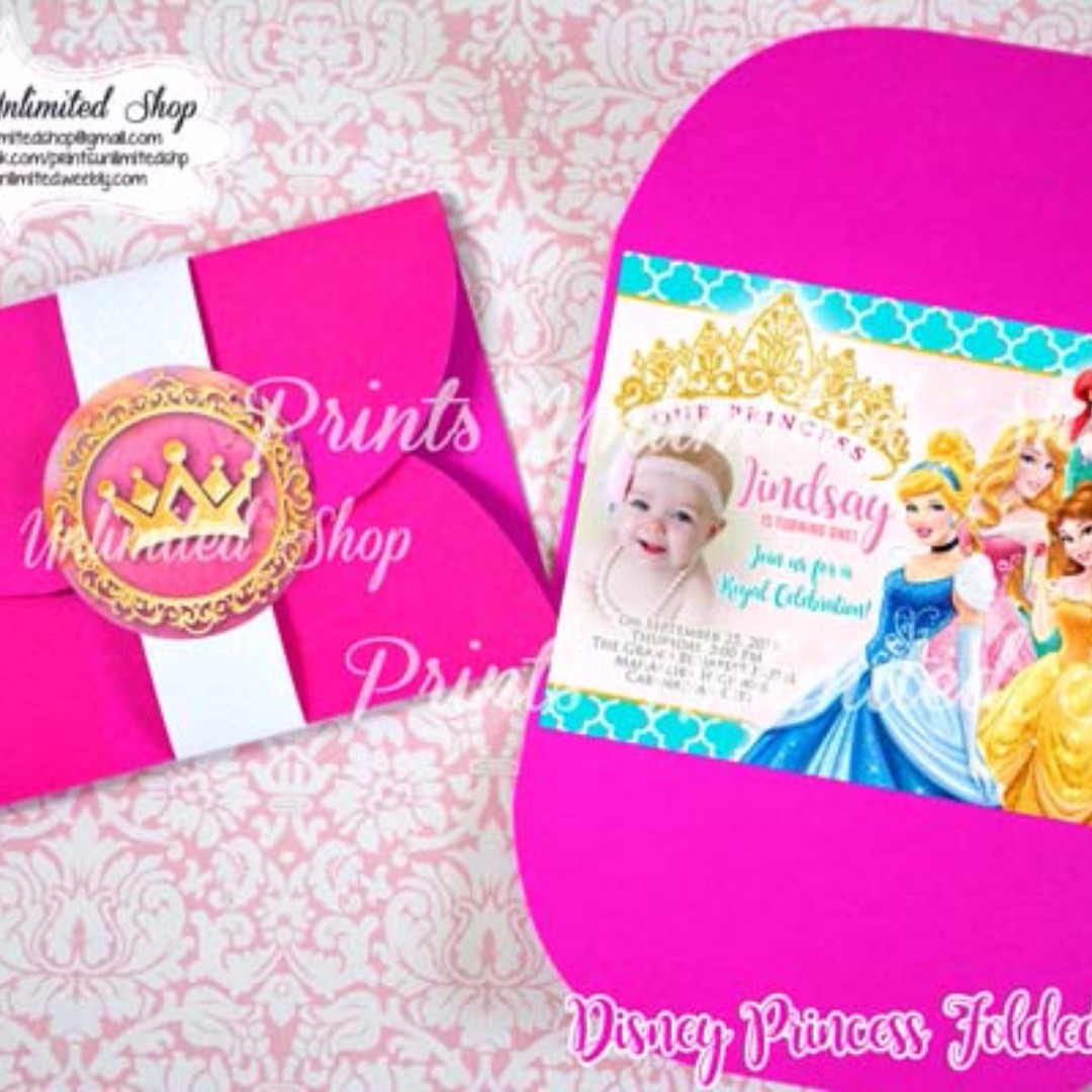 Disney Princess Folded Invitation Christening Birthday Everything