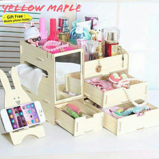 DIY wooden make-up organizer with mirror and cp holder