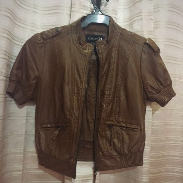F21 Brown Faux Leather Jacket