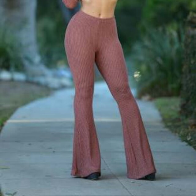Fashion Nova Fit and Flare Pants Bell - Dusty Pink
