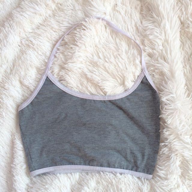 Grey Halter Crop Top