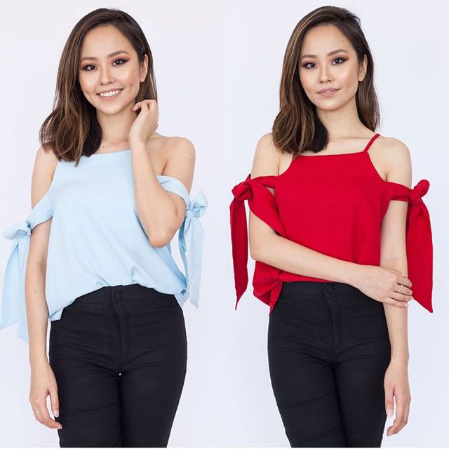 High Neck Ribbon Sleep Off Shoulder Top