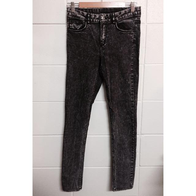 H&M Acid Washed Dark Jeans