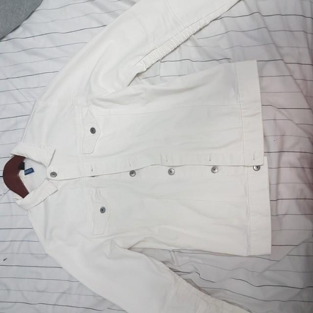 H&M white jean jacket