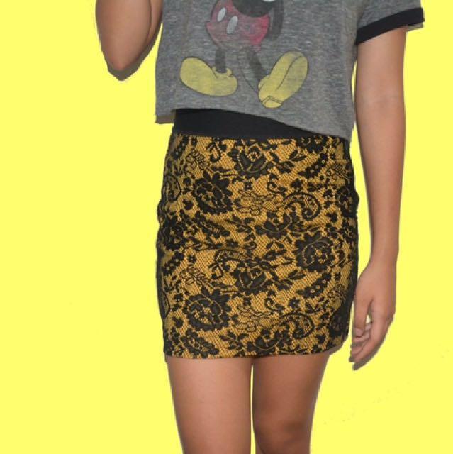 H&M Yellow Lace Skirt
