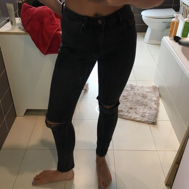 Insight Black High Waisted ripped jeans