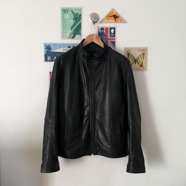 Jaket Massimo Dutti Black Nappa Leather Jacket b4b26370dc