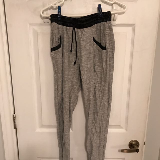 Joggers with leather waist band
