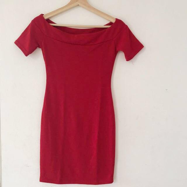 Magnolia red mini off shoulder dress