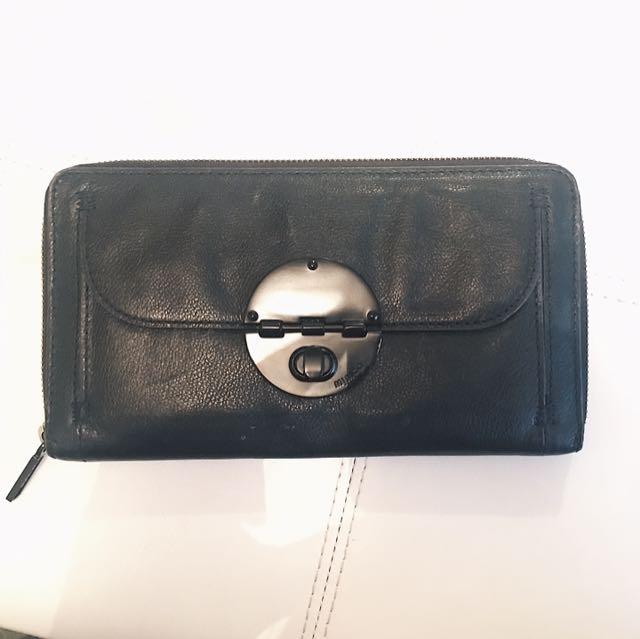 Mimco Turnlock Travel Wallet (Soft Black Leather / Matte Black Hardware)