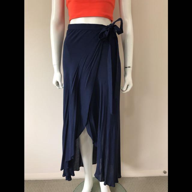 Navy wrap skirt
