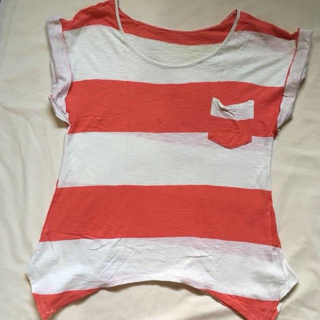 Orange and White Stripes Top