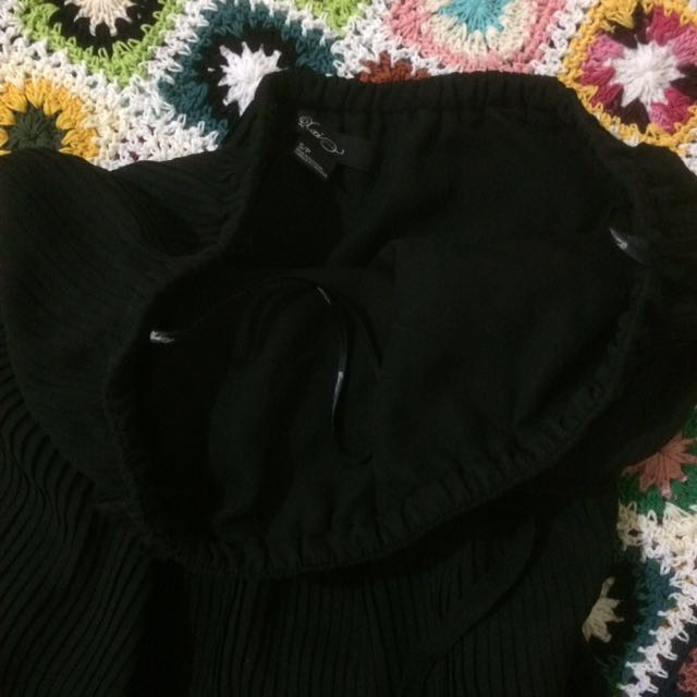 Pleated black tube dress
