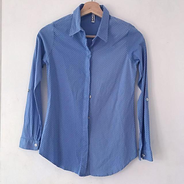 Polka dot blue and white shirt (kemeja polka dot biru putih)
