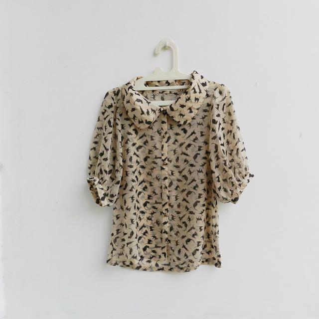 [PRELOVED] cat pattern blouse