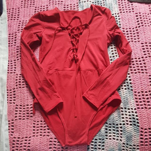 Red Lace Up Body Suit