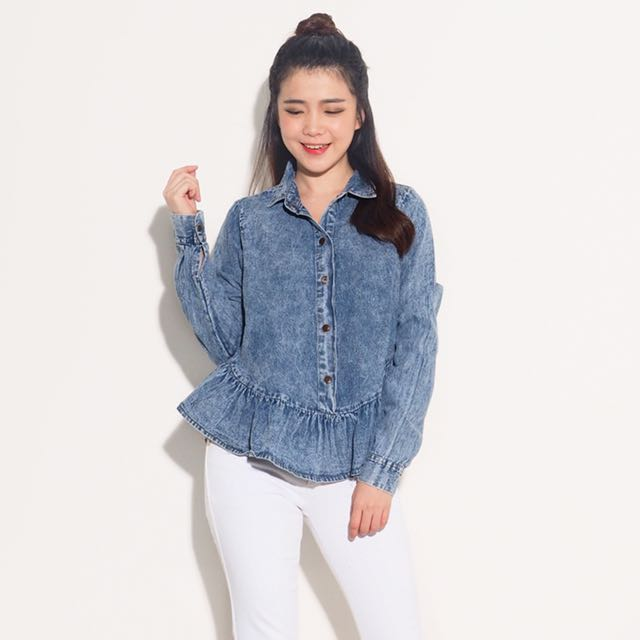 Ruffle jeans top