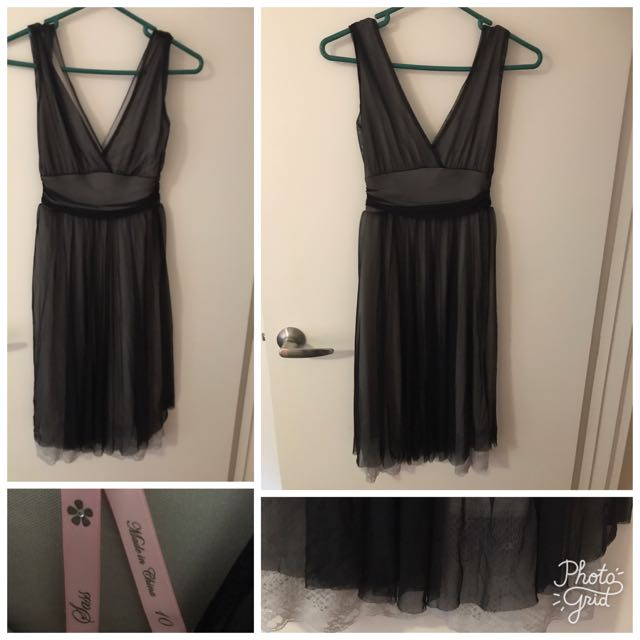 Sass black with lace detail dress size 10