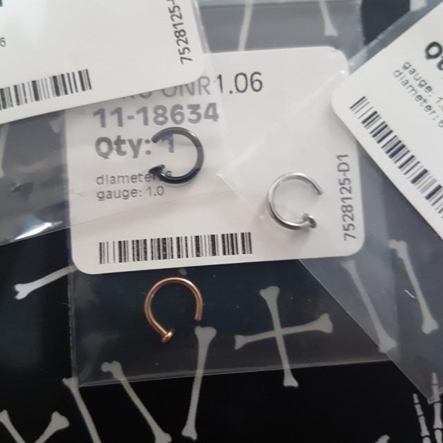 Set of three nose rings