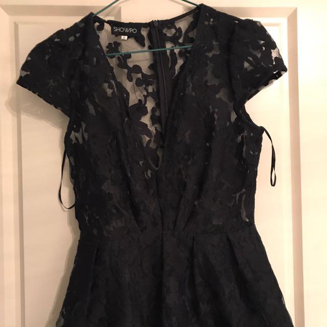Showpo black lace playsuit