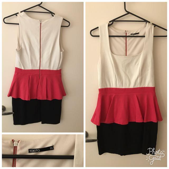 Tokito peplum dress size 10