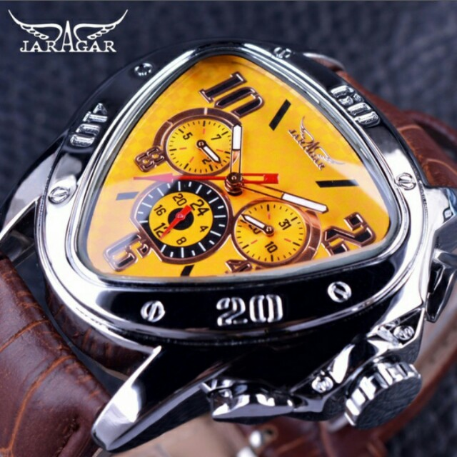 TOP LUXURY JARAGAR SPORT RACING SERIES YELLOW FASHION DIAL GENUINE LEATHER STRAP MEN'S MALE WRIST WATCHES