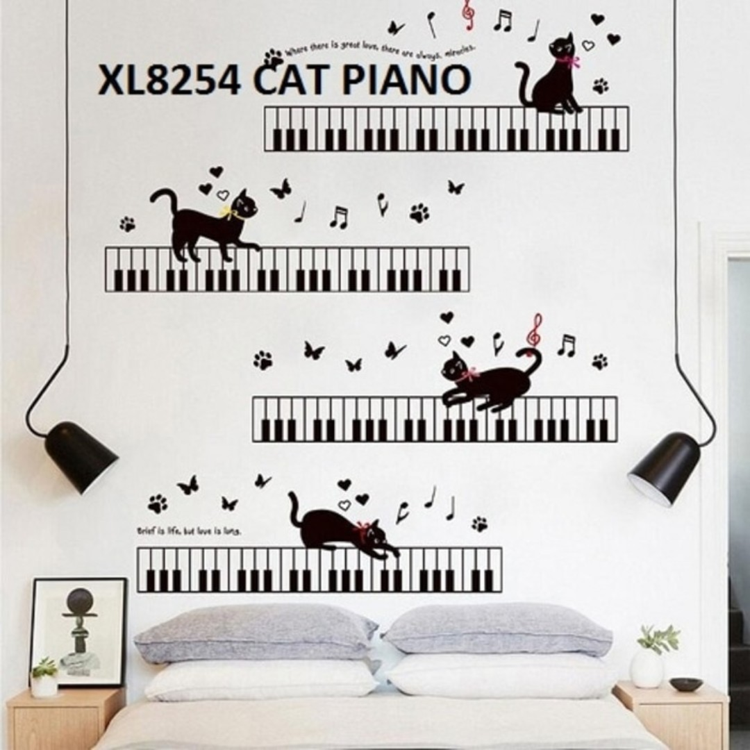 Wall Sticker Cat Piano. Ukuran 60x90cm.