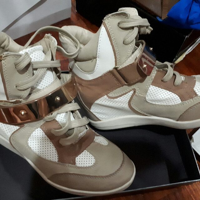 wanted beige wedge shoes