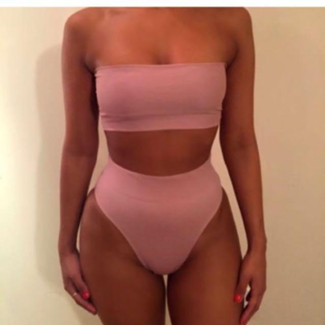 Women's High Waisted Bandeau Bikini