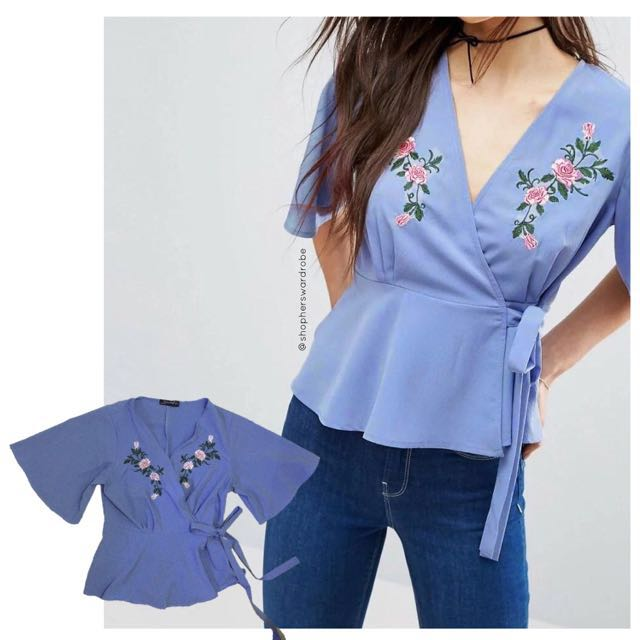 Wrap top flower embroidery
