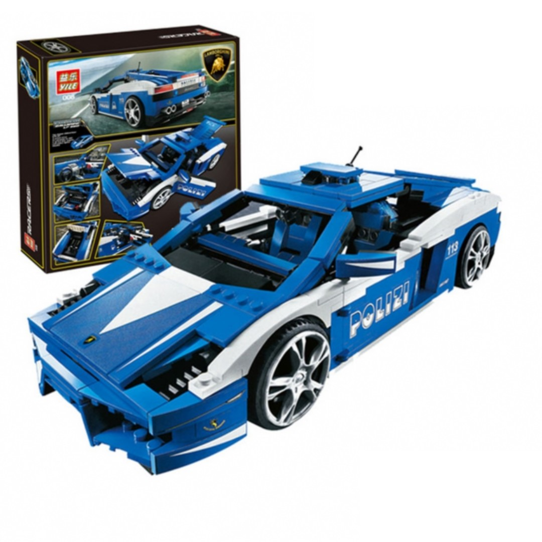 YILE 008 Creative Series The Lamborghini Police Car Gallardo LP560-4 Racing  Car Building Block Sets