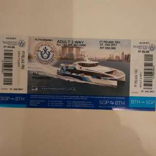 """Singapore - Batam Ferry Tickets - Majestic Fast ferry 2-way Ferry Tickets. """"ALL TAXES FULLY PAID"""" Batam Transportation Available @ Very Good $$$$$$"""